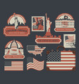 set of american symbols and landmarks with flag vector image vector image