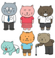 set of cat family vector image vector image