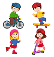 set of isolated children and sport vector image vector image