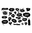 set speech bubbles in hand drawn style vector image