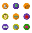 South Korea set icons in flat style Big vector image vector image