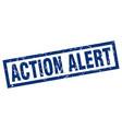 square grunge blue action alert stamp vector image vector image