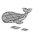 Stylized whale zentangle vector image vector image