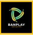 three bananas play media logotype vector image