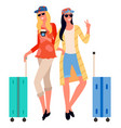 traveling friends woman posing for photo traveler vector image vector image