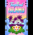 tropical island with palm trees ukuleles floral vector image vector image