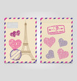 vintage romantic envelopes with eiffel tower and vector image vector image