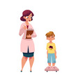 woman doctor measuring weight of boy child kid vector image vector image