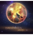 Halloween with full moon and witch on the night vector image