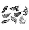 Heraldic angel black and white wings vector image