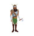 halloween costume viking man beard helmet horns vector image