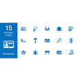 15 personal icons vector image vector image