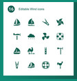 16 wind icons vector image vector image