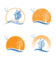 Abstract icon of treesun and birds vector image vector image