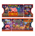 big top circus tickets performers and animals vector image vector image