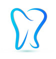 blue wavy dental tooth stylized icon vector image