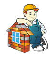 builder and brick house vector image