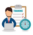 business people with checklist training icon vector image vector image