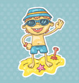 cartoon boy on the beach vector image