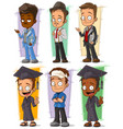 cartoon happy college student character set vector image vector image