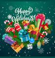 christmas tree xmas bell and gifts snow balls vector image vector image