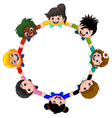 Circle of happy children of different races vector image vector image