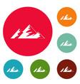 climb on mountain icons circle set vector image