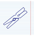 clothes peg sign navy line icon on vector image vector image