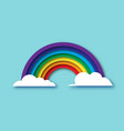 color rainbow with clouds in paper cut style vector image