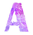 coloring freehand drawing capital letter a vector image vector image