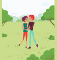couple holding hands walking in forest vector image vector image