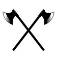 crossed ancient hatchets in engraving style vector image vector image