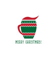 cup mulled wine merry christmas design vector image