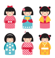 dolls in japanese style vector image