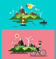 flat design landscapes set ocean landscape with vector image vector image