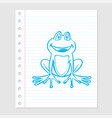 Frog cartoon on paper sheet