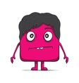 Funny cube dude with hair Square character vector image vector image