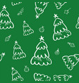 green pine seamless pattern in doodle style vector image