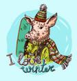 hand drawn pig sketch symbol vector image vector image