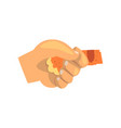 human hand holding cat paw friendship training vector image vector image