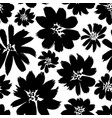 ink drawing flowers hand drawn seamless pattern vector image
