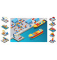 isometric sea port template vector image