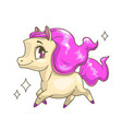 little cute running horse with pink hair vector image vector image