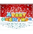 Merry christmas hand-lettering text on snowy vector image vector image
