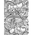 mushrooms coloring antistress book page vector image vector image