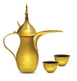 realistic detailed 3d shiny metal arabic coffee vector image vector image