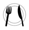restaurant kitchen dishware plate fork and knife vector image