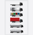 set cargo trucks transportation with container vector image vector image