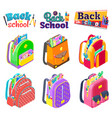 set colorful briefcases and back to school vector image