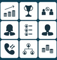 set of 9 management icons includes cellular data vector image vector image